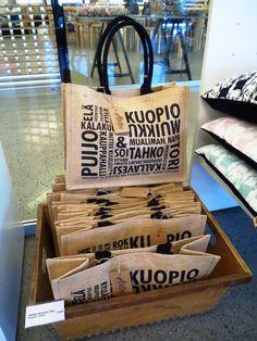 Kuopio -juuttikassi;Ateljee Keltainen Talo Burlap, Reusable Tote Bags, Hessian Fabric, Jute, Canvas