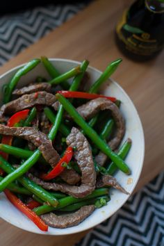 Easy and delicious, spicy ginger beef stir fry.  Ready in 30 minutes!