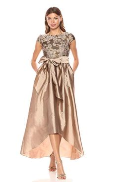 Women& Cap Sleeve Bead and Embroidered Gown Caps For Women, Mother Of The Bride, Cap Sleeves, Crew Neck, Gowns, Beads, Floral, Womens Fashion, Dresses