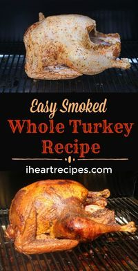 Easy Smoked Turkey Recipe I Heart Recipes is part of eye-makeup - Does smoking a whole turkey sound intimidating Check out this easy smoked whole turkey recipe no brine needed! Easy Smoked Turkey Recipe, Smoked Whole Turkey, Whole Turkey Recipes, Smoker Turkey Recipes, Traeger Smoked Turkey, Brining Turkey Recipe, Turkey On The Grill, Masterbuilt Smoked Turkey, Turkey Rub