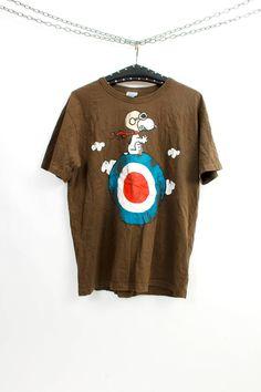 Snoopy Tshirt / Cotton Tshirt / Hipster Tshirt / Brown Tee / Casual Tee / Cartoon Shirt / Funny Shirt  Size L by Ramaci on Etsy