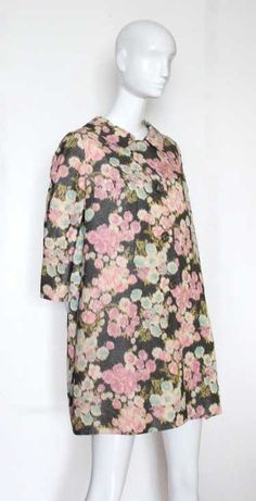 Mainbocher Haute Couture Floral Warp Printed Textured Silk Taffeta Coat, Item was passed Floral Dress Design, Silk Coat, Tunic Designs, Swing Coats, Silk Taffeta, Designer Gowns, Silk Skirt, Fashion Branding, Clothing Items
