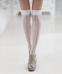 Ivory Sheer Stripe Over-the-Knee Socks