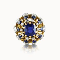 SAPPHIRE AND DIAMOND BOMBE COCKTAIL RING BY BOIVIN