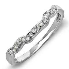 0.15 Carat (ctw) 14k White Gold Round Diamond Ladies Anniversary Wedding Ring Band Enhancer Guard -- You can get additional details at the image link.