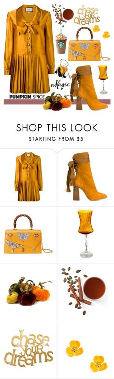 """Monochrome: Pumpkin Spice"" by nicolevalents ❤ liked on Polyvore featuring Christian Dior, Gucci, Chloé and PBteen"