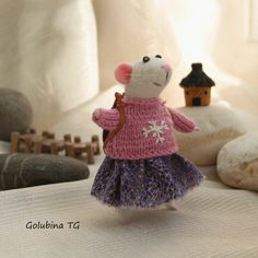 Needle felted Mouse Trip mouse traveler Mouse by WorkshopTatyanas