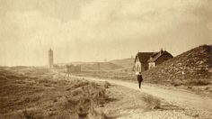 Waddeneilanden, streekgezichten, vuurtorens. De vuurtoren 'De Brandaris' op waddeneiland Terschelling, Nederland, Terschelling, 1913.