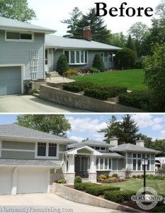 We love the porch and home addition to this 1950's split level home. It definitely helped with the home's curb appeal!