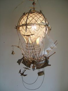 Летучий корабль 2 Art Steampunk, Lampe Steampunk, Steampunk Fashion, Paper Art, Diy Decoration, Hot Air Balloon, Wire Art, Steam Punk Tattoo, Dieselpunk