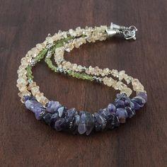 Two-strand multi gemstone necklace / Beaded boho chic