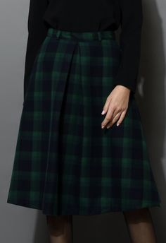Green Plaid Check Midi Skirt