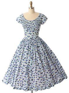 JUST ADDED! 1950s Jerry Gilden Floral Full Tea Length Dress #jerrygilden #50sdress #bluevelvetvintage