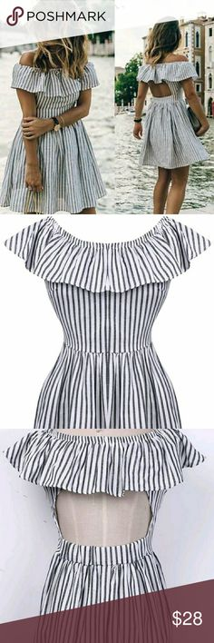 Off the shoulder pinstripe dress Striped off shoulder frilled backless summer casual party beach mini dress black,white,gray.  Large bust is: 96cm & 86cm length Extra large is : 100cm & 88Cm length Dresses Midi