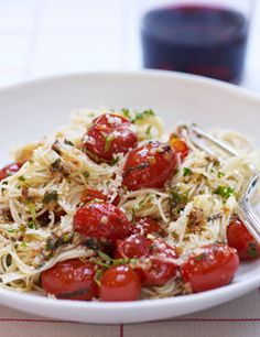 Summer Spaghetti.  (angel hair with cherry tomatoes, basil, & parmesan).