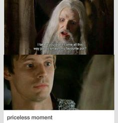 "Arthur ""Old Merlin"" scenes are the best! Merlin totally take advantage of Arthur when he's ""old merlin"" Colin Morgan, Merlin Funny, Merlin Memes, Merlin Quotes, Sherlock Quotes, Tv Quotes, Old Merlin, Merlin Cast, Fandoms"