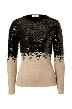 MOSCHINO Nude and Black Sequin-Embellished Wool Pullover $675  http://hollyrotic.mybigcommerce.com/moschino-nude-and-black-sequin-embellished-wool-pullover-675/