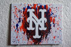 New York Mets Melted Crayon Art by MikeAndKatieMakeArt on Etsy Crayon Art, Melting Crayons, New York Mets, Art Work, Athletic, Unique Jewelry, Handmade Gifts, Etsy, Artwork