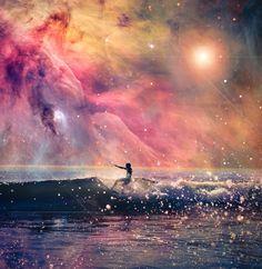 Galaxy surf art, cosmic fashion trend.