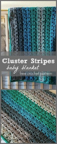 Cluster Stripes Baby Blanket Crochet Pattern