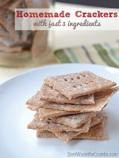 3 Ingredient Homemade Crackers - Delicious Snack Made with Whole Grain Wheat and/or Spelt, Ready in Just 20 Minutes! | DontWastetheCrumbs.com