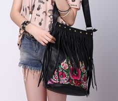 Embroidered Fringe Bag
