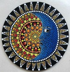 Hand painted Sun and moon dot art on an 8 inches / 20 cm diametre chipboard. A unique painting, handmade with love and patience. I do ship internationally. Please feel free to contact me to know the shipping fees to your country. Mandala Design, Mandala Art, Mandala Painting, Mandala Pattern, Moon Mandala, Mandala Painted Rocks, Mandala Rocks, Arte Peculiar, Vinyl Record Art