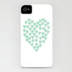 Hearts Heart Mint iPhone Case by Project M