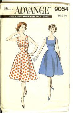 Vintage Summer Dress 50s Vintage Sewing Pattern Advance 9054 Size 14 Bust 34