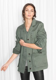 & Other Stories image 1 of Camo Jacket in Khaki Green