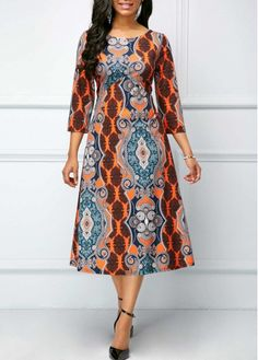 dress for women Printed Round Neck Three Quarter Sleeve Dress - African Fashion Ankara, African Fashion Designers, Latest African Fashion Dresses, African Print Fashion, Africa Fashion, Women's Fashion Dresses, Woman Dresses, Sexy Dresses, African Attire