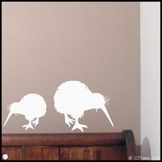 New ZEALAND  Two Kiwi birds eating  WALL DECAL for by Citystic, $14.90
