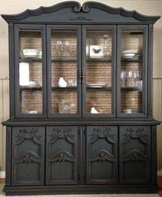 diy home furniture projects China Hutch Makeover, China Cabinet Redo, Painted China Cabinets, Painted Hutch, Cabinet Decor, Repurposed China Cabinet, Hutch Redo, Refurbished Furniture, Repurposed Furniture