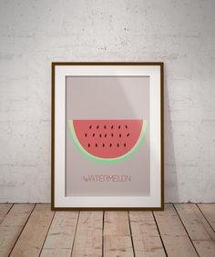 Watermelon Print Watermelon Poster Watermelon Art by PrintmyInk