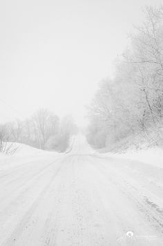 Snowy road :) I LOVE it. Can't wait for snow :) It's always so peaceful, and a…