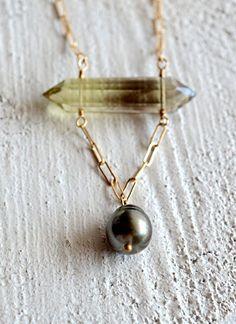 Kahiki Peru...Tahitian pearl and bi-lemon quartz spike necklace by Kahili Creations of Hawaii...