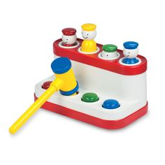 Tap a button with the hammer and the matching coloured pal pops up. Repeat the fun game of peep-o with the four smiley pals. Helps develop hand-eye coordination and manual dexterity. #retro #popuppals #ambitoys #camelotkids