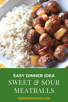 Healthy & Easy Slow Cooker Sweet & Sour Meatballs | Easy Healthy Recipes & Meals for Families - One of our most popular recipes is this slow cooker sweet & sour beef meatballs meal. It's healthy, perfect for kids & makes an easy weeknight dinner. Click through for the full recipe & learn to make these easy recipe in your crockpot! | 5 Dinners 1 Hour #slowcooker #beefrecipes #healthyrecipes #easyrecipes #quickrecipes #familyrecipes #dinnerrecipes #dinnerideas #mealideas Quick Recipes, Popular Recipes, Easy Healthy Recipes, Delicious Recipes, Sweet And Sour Beef, Sweet And Sour Meatballs, Easy Weeknight Dinners, Easy Meals, Slow Cooker Recipes