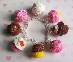 polymer clay cupcake charm bracelet. $32.00, via Etsy.