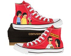 Bob, Linda, Tina, Gene, and Louise. Sock Shoes, Shoes Heels Boots, Bob's Burgers Merchandise, Painted Converse, Bobs Burgers, Hand Painted Shoes, Shoe Art, Custom Shoes, Converse All Star