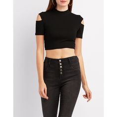 Charlotte Russe Mock Neck Cut-Out Sleeve Crop Top ($14) ❤ liked on Polyvore featuring tops, black, long-sleeve crop tops, crop top, short sleeve crop top, charlotte russe and cut-out crop tops