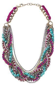 Bamboleo Necklace by Stella & Dot $228. Hand braided antique chain with dyed pink jade, turquoise, and faceted cupchain makes this necklace an instant wardrobe update and the must have piece of the season.