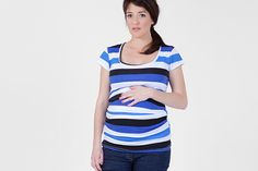 Maternity striped T shirt ,U neck maternity T shirt, short sleeves, blue T shirt, pregnancy gift. via Etsy $42