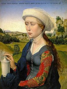"Young woman of the Braque Family ""ca."" (right panel of Triptych) (Rogier Van Der Weyden) (1399-1464)"