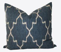 Decorative Designer Indigo Blue Geometric Quatrefoil, Moroccan Tile,  Pillow, 18x18, 20x20, 22x22 or lumbar, Throw Pillow