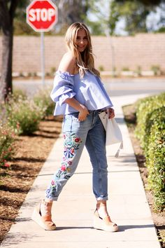 Embroidered Jeans for Spring + Tips for Styling Embroidery