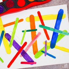 Trace craft sticks to create a beautiful piece of process art. Craft stick process art is a super fun kids craft activity. Fun Crafts For Kids, Craft Activities For Kids, Craft Stick Crafts, Preschool Crafts, Art For Kids, Arts And Crafts, Craft Sticks, Popsicle Sticks, Activity Ideas