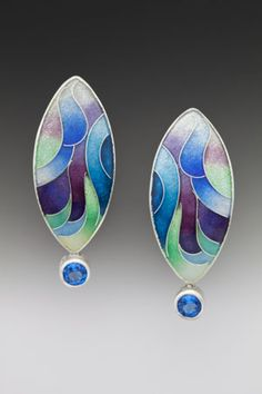 Earrings <br>Enamel, sterling and fine silver, and ice blue topaz