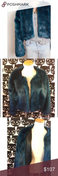 Lowest Price ! Nasty Gal Faux fur jacket Lusting hard faux sure. This jacket by Oh My Love is made in a deep blue and black faux fur and features an open front and slightly cropped silhouette. Fully lined. Pair it with a sllouchy shirt, ripped skinnies, and textured ankle boots. Sold out online on Nasty Gal  *Acrylic/Modacrylic/Polyester  *Runs true to size  *Dry clean only Nasty Gal Jackets & Coats