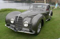 """1938-1946 Delahaye 145 Chapron Coupé, the """"Million Franc Car"""", with its cigar shaped bodywork is still accounted for, and at least three other 145 models. Two Coupés were bodied by Henri Chapron, one carries s/n 48772 and the other is s/n 48773. Both of these Chapron Coupés 1938 Delahaye 145 Chapron Coupé."""